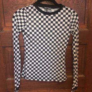 Current Mood Checkered Mesh Long Sleeve Tee